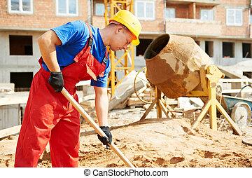 construction, constructeur, pelle, ouvrier, site