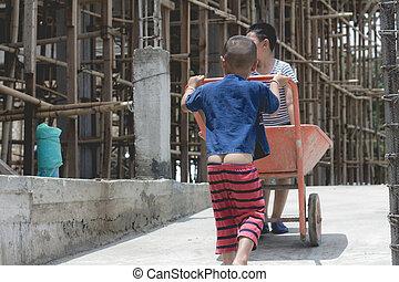 construction, décembre, main-d'œuvre, forcé, enfants, travail, violence, 10., trafic, jour, concept, droits