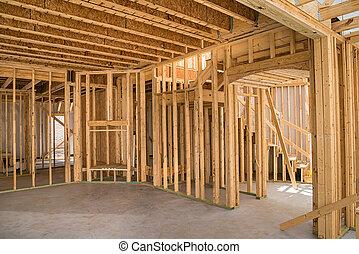 construction, encadrement, nouveau, résidentiel, maison