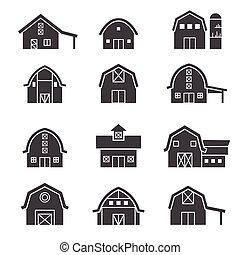construction ferme, ensemble, icône
