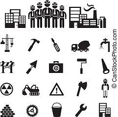 construction, icône, équipe