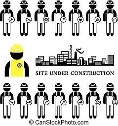 construction, icône, ensemble