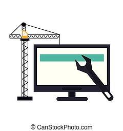 construction, informatique, grue, clé