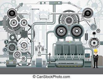 construction, ingénierie, équipement, vecteur, usine, industriel, illustration, machinerie