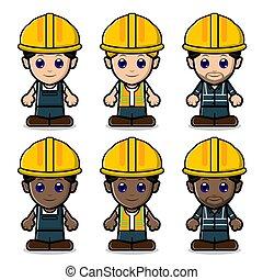 construction, mignon, main-d'œuvre, collection, ensemble
