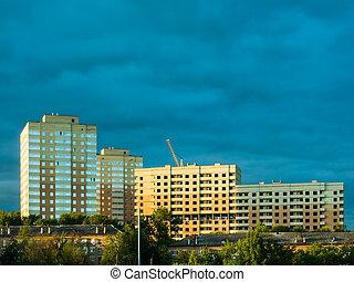 construction, nouveau, bâtiments, appartement