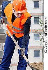 construction, pelle sable, ouvrier, creuser