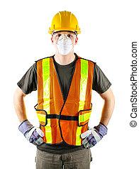 construction, porter, ouvrier, sécurité