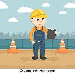 construction, presse-papiers, ouvrier, lecture