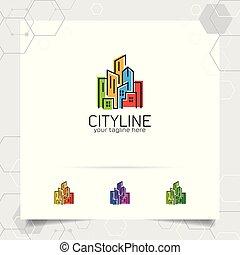 construction, propriété, entrepreneur, vecteur, conception, concept, icône, propriété, appartement, logo, scape., résidence, bâtiment., vrai, ville