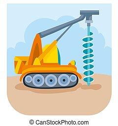 construction, quelque chose, foret, illustration, forets, dessin animé, vecteur, illustration, site