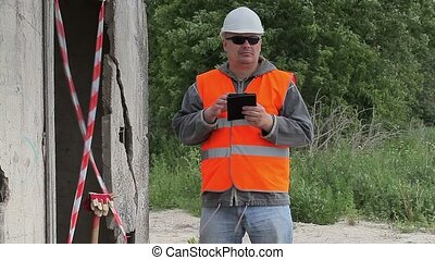 construction, tablette, employé