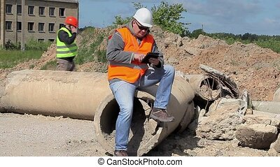 construction, tablette, employés