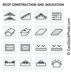 construction, toit, icône
