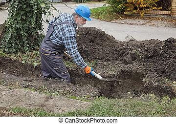 construction, utilisation, ouvrier, pelle, creuser, tranchée