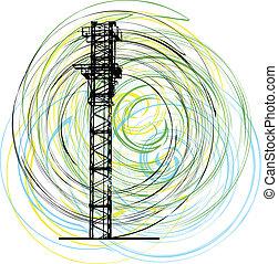 construction, vecteur, crane., résumé