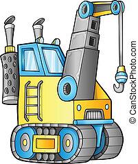 construction, vecteur, mignon, grue