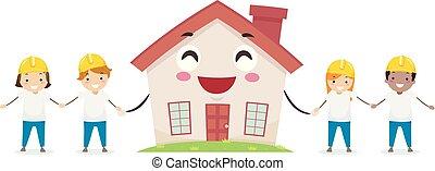 construction, volontaire, mascotte, gosses, stickman, maison