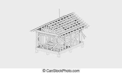 construction, wire-frame, vidéo, maison