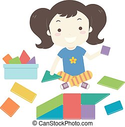 construire, illustration, forme jouet, girl, gosse, blocs