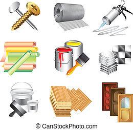 construire matériels, ensemble, vecteur, icônes