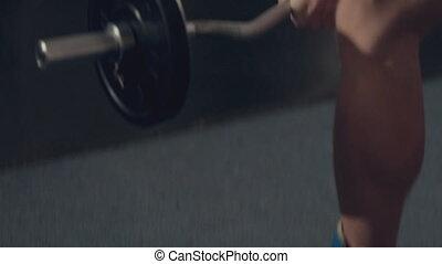 construire, musculaire, plancher, muscles, homme, ascenseurs, barre disques