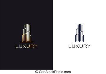 construisant couleur, conception, logo, or, fin, élevé, concept, gabarit