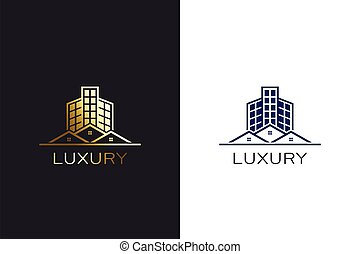 construisant couleur, maisons, conception, logo, or, gabarit