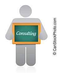 consultant, conception, message, illustration