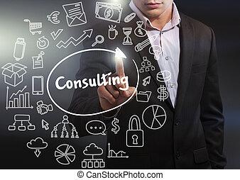 consultant, fonctionnement, réseau, business, concept., tablette, virtuel, business, avenir, technologie internet, display:, sélectionner, homme