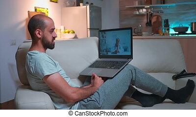consultation, docteur, médecin, pendant, malade, videocall, patient, consultant