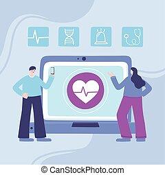 consultation, service, ligne, conseil, ou, smartphone, monde médical, malades, docteur, ordinateur portable