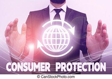 consumers., protection., photo, texte, conceptuel, droits, signe, but, projection, protéger, consommateur, règlement