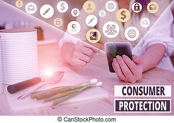 consumers., règlement, showcasing, droits, consommateur, protéger, protection., projection, note, photo, écriture, but, business