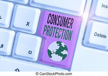 consumers., texte, écriture, règlement, droits, consommateur, protéger, protection., signification, but, concept