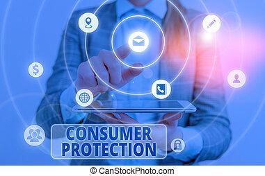 consumers., texte, conceptuel, main, règlement, droits, consommateur, protéger, protection., projection, photo, écriture, but, business