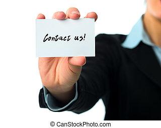 contact, carte affaires, nous