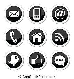 contact, média, social, toile, icônes