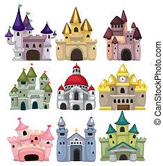 conte, château, icône, fée, dessin animé