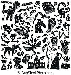 conte, doodles, fée, -