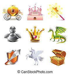 conte, fée, vecteur, ensemble, icônes