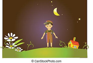 conte fées, terre, jeune garçon