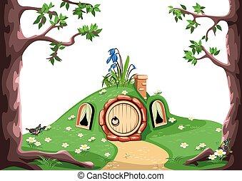 conte, forêt, fée, maison