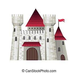 conte, gradients., vecteur, fée, illustration, simple, façades, fortresses., castle., mignon