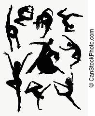 contemporain, danse, silhouette