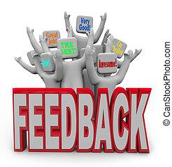 content, gens, clients, réaction, satisfait, positif, donner