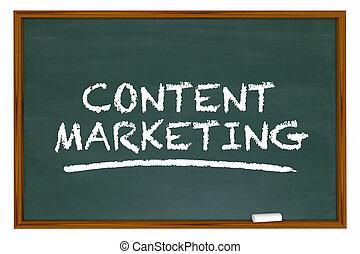 contenu, apprentissage, commercialisation, illustration, panneau craie, mots, 3d