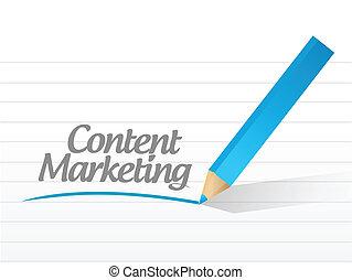 contenu, commercialisation, écrit, illustration, message.