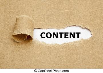 contenu, déchiré, concept, papier