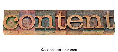 contenu, mot, type, letterpress